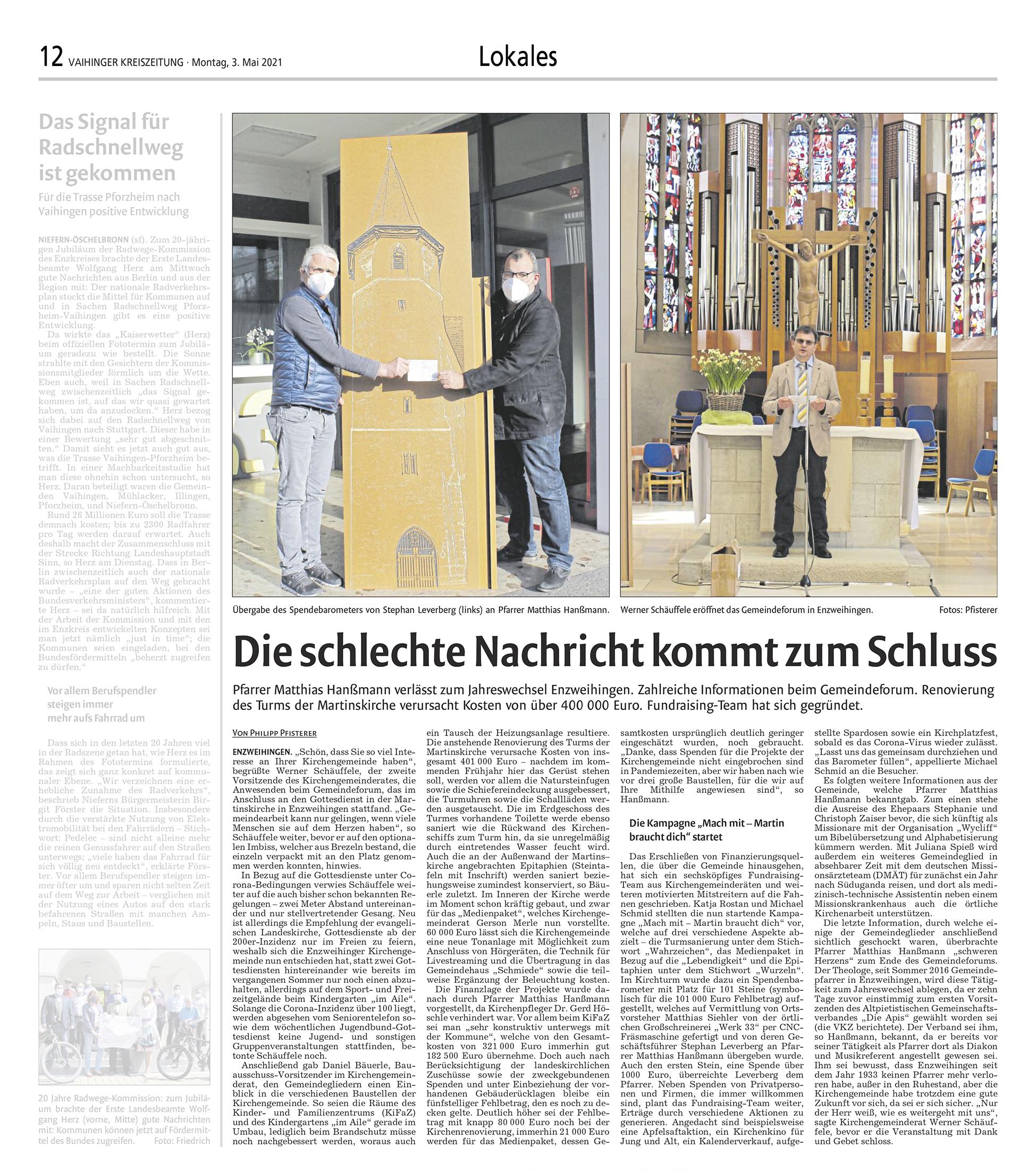 werk33 in der vaihinger kreiszeitung